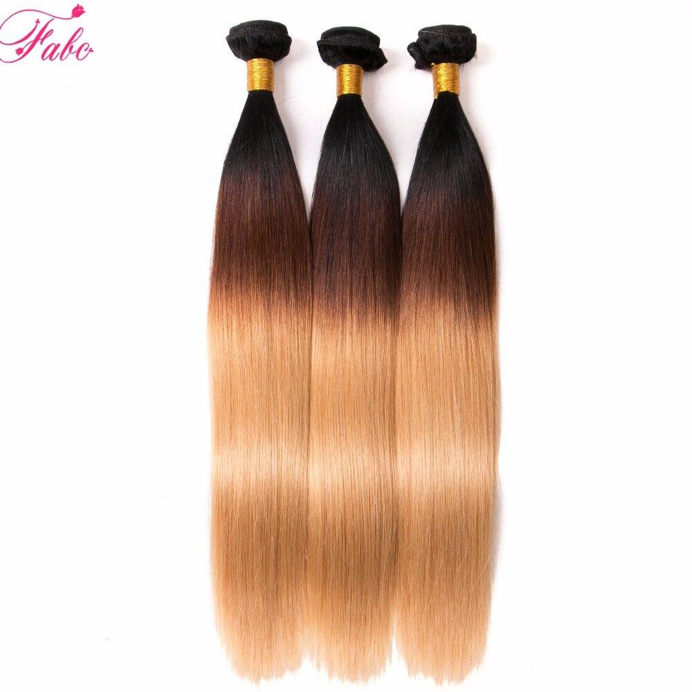 FABC hair 1b/4/27 Peruvian Hair Straight 3 Bundles Deal Human Hair Weave Bundles non remy Hair Extension