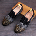 Fashion trend Men Loafers Rhinestone Genuine leather Male Casual shoes Slip-On Flats Lighten-end Driving shoes 022