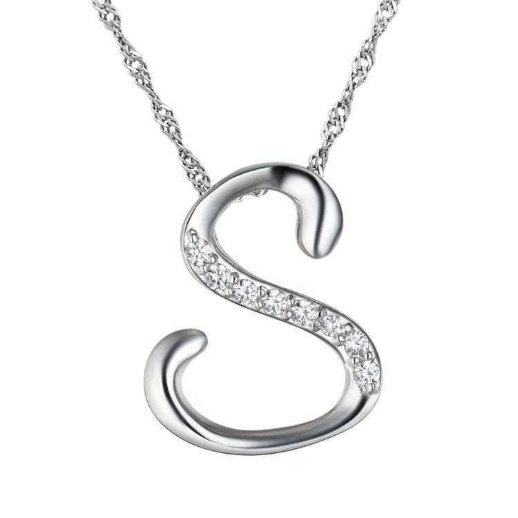10pcs/lot Newest Silver Letter S Pendant Necklace, Fashion