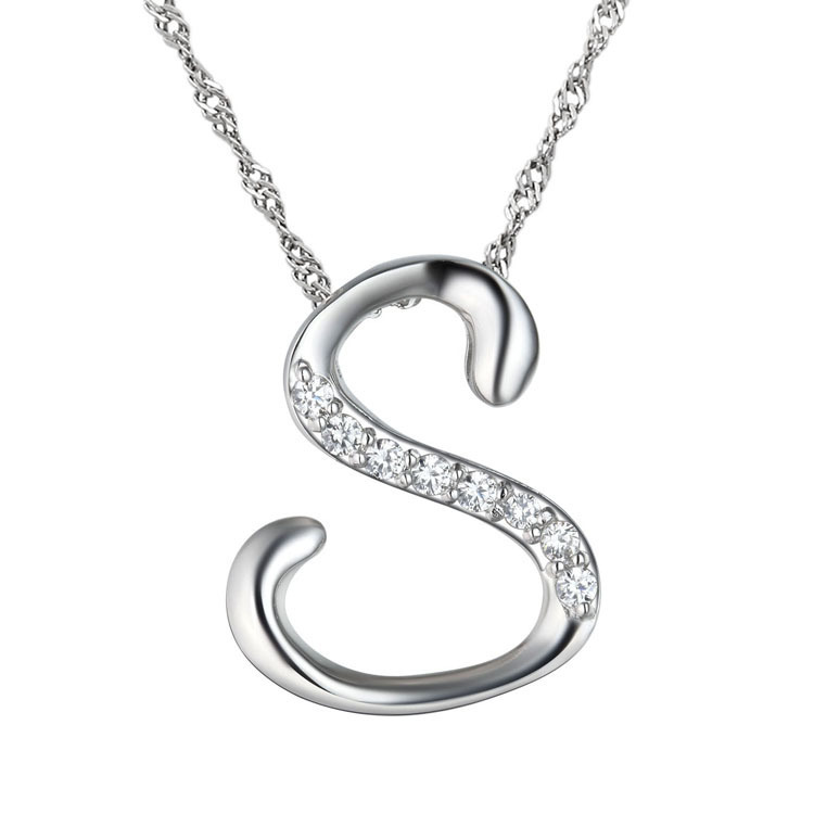 10pcslot newest silver letter s pendant necklace fashion crystal alphabet letter pendant necklace