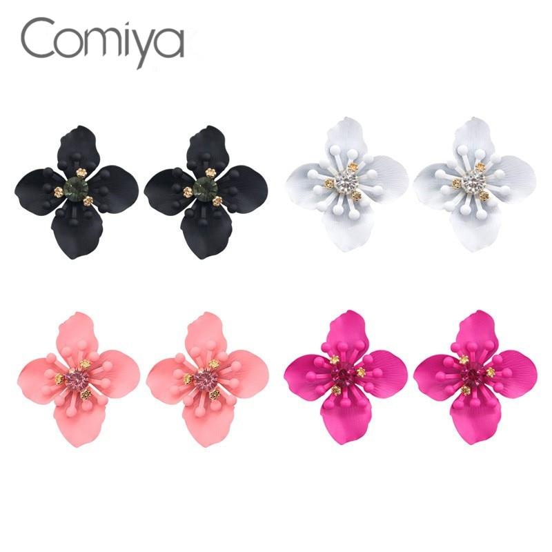 Comiya Designer Black Flowers Stud Earrings For Women Jewelry Accessories Boucle Doreille Basket Femme Wholesale Post Earring
