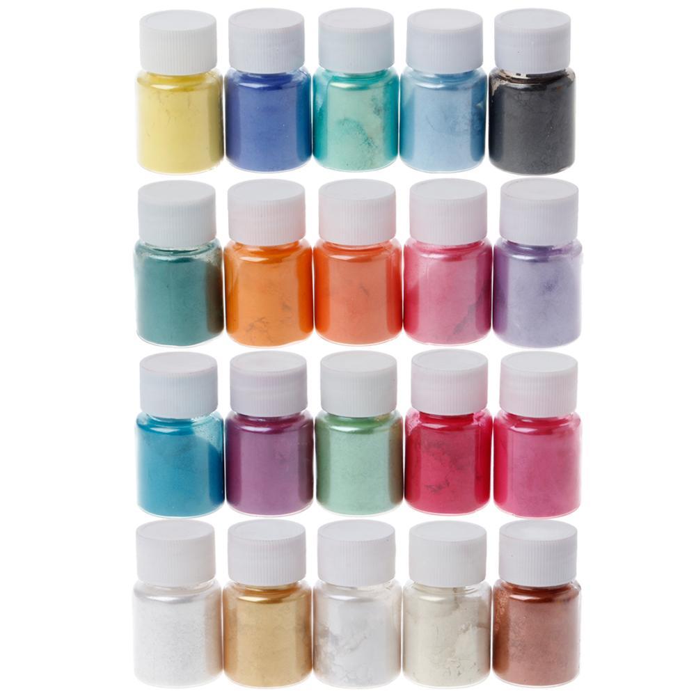 20 cores Mica Em Pó Epóxi Resina Corante Pigmento Pérola Mica Em Pó Mineral Natural Novo 2019