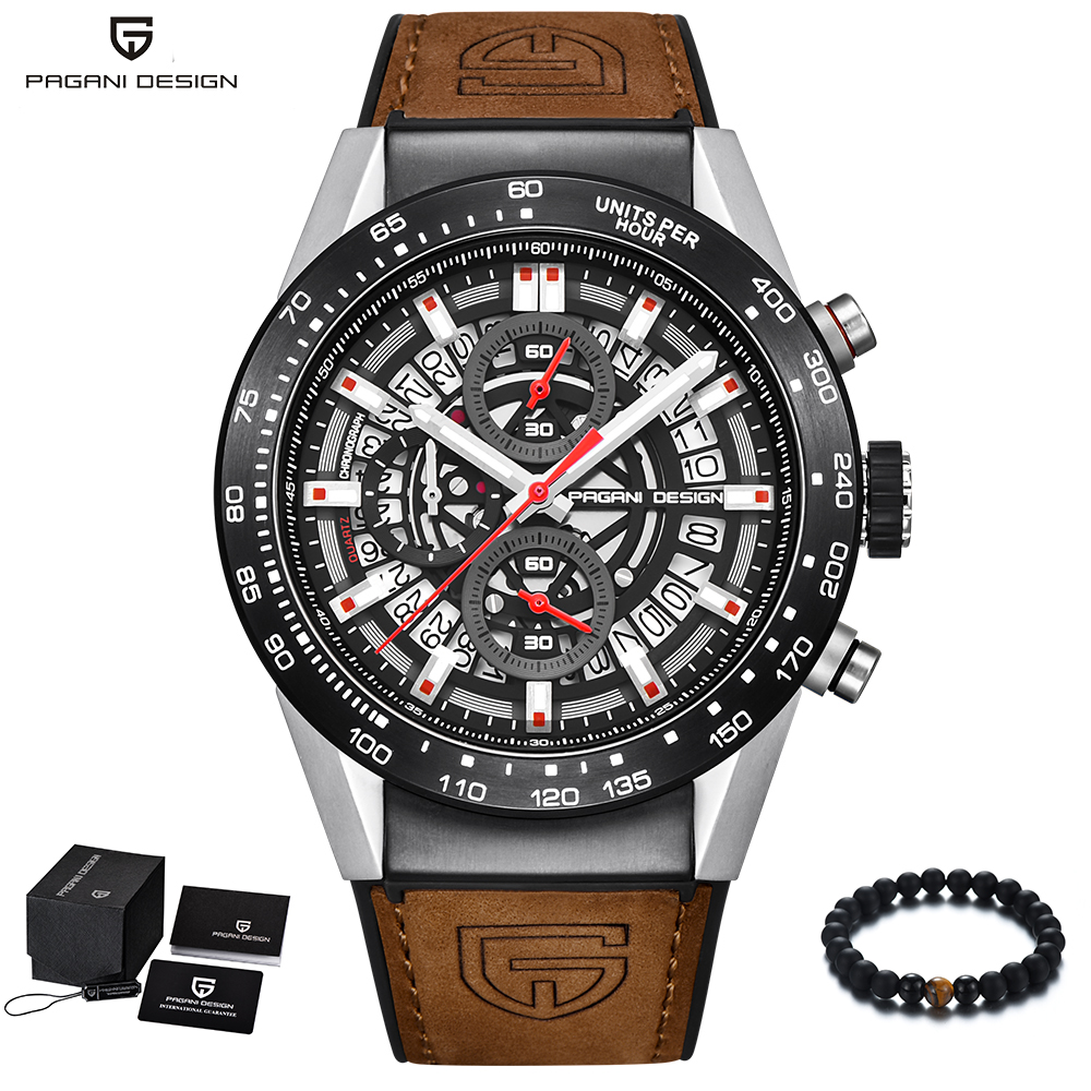 PAGANI Design Mens Watches Top Brand Luxury Military Watch Men Quartz Leather Band Steel Case Waterproof