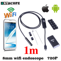 Iphone Android WiFi Endoscope HD 8mm 720P Endoscope 1M Waterproof Inspection Camera Snake Tube IOS Endoskop