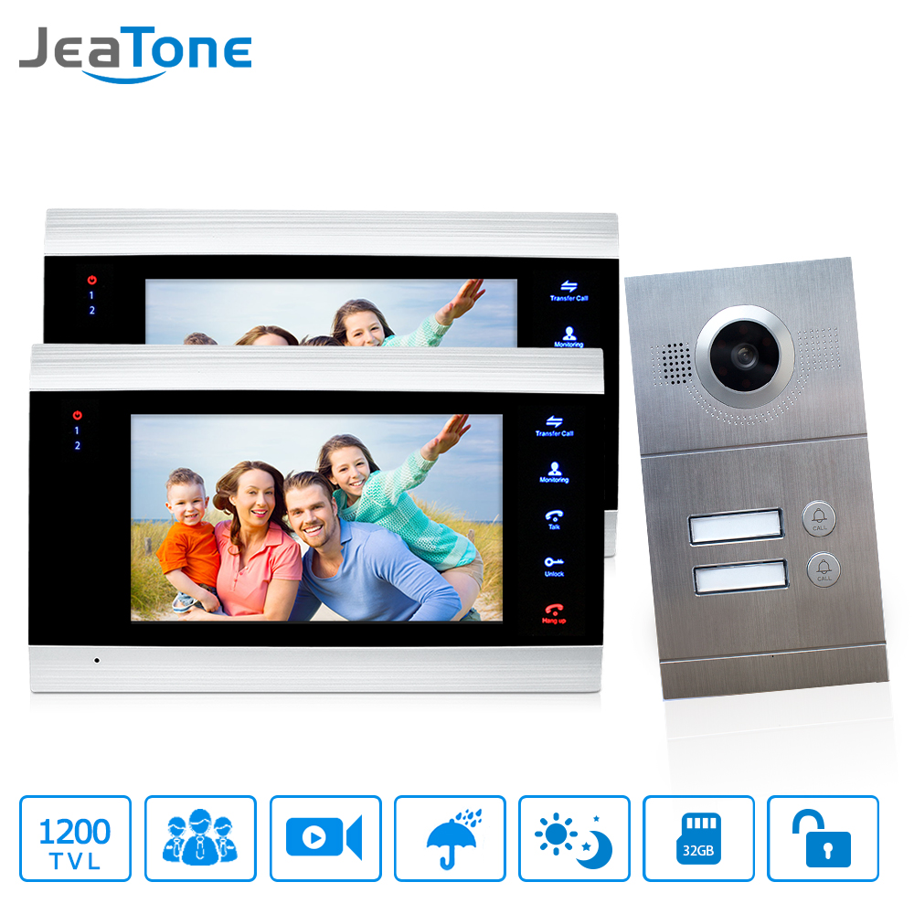 Jeatone 7 Multi Apartment Video Door Phone Video Intercom Doorbell System 1200 TVL Camera Touch Key for 2 Apartments dhl shipping v70c l multi apartments building video intercom system apartment audio door phone