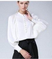 2018 новые оригинальные фонарь рукав, реального шелковая рубашка, французский суд белая рубашка, женский Кнопка BF Свободные куртки воротник.