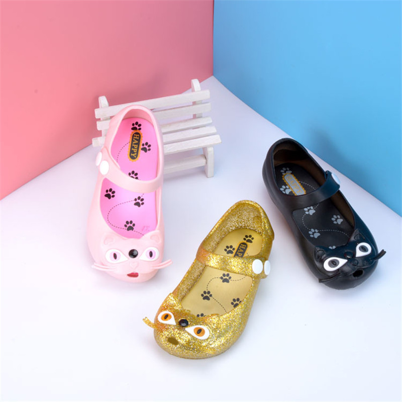Mini Melissa Golden Cat Jelly Sandals Summer Girls Sandals 2017 Melissa Jelly Shoes Pvc Shoes Melissa Princess Shoes EUR 21-32