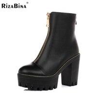 Rizabina kadınlar yüksek topuk ayak bileği çizmeler yarım kısa botas sonbahar kış bayanlar yüksek topuklu ayakkabı önyükleme ayakkabı ayakkabı r4572 size34-39