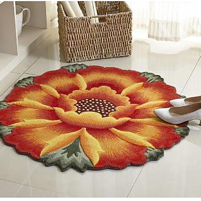 Yellow Sunflower Carpet 3D Floral Embroidery Non Skid Porch Doormat Flower  Rug Water Absorbency Floor