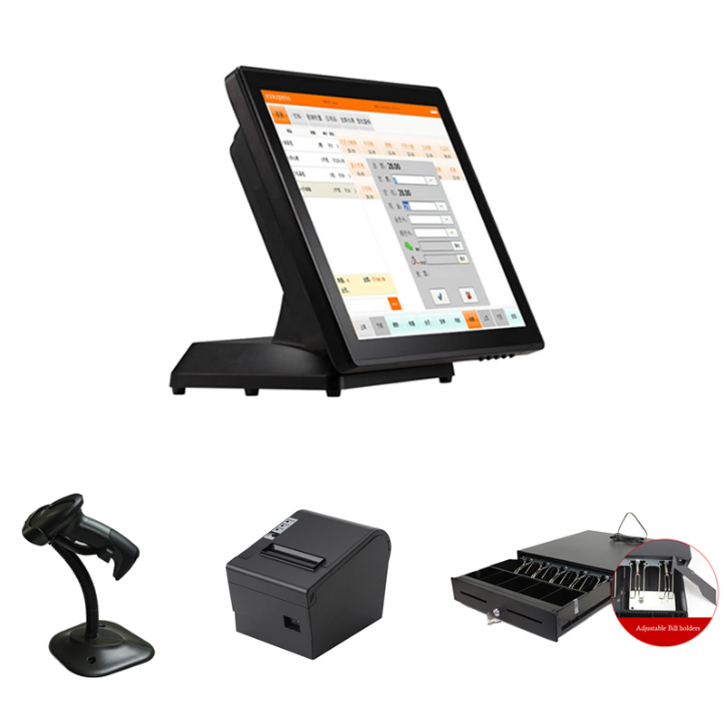 Retail Point of Sale Complete Whole System Including POS Touchscreen,80mm Receipt Printer,1D Barcode Scanner And Cash Drawer