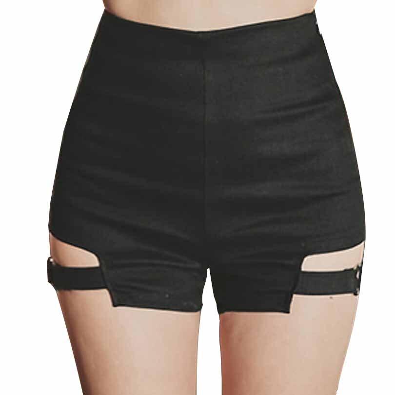 Summer Tight Skinny Garter Belt Punk   Shorts   Hollow out Sexy Women's Vintage Black Elastic High Waist Hot   Shorts   for Goth Girls