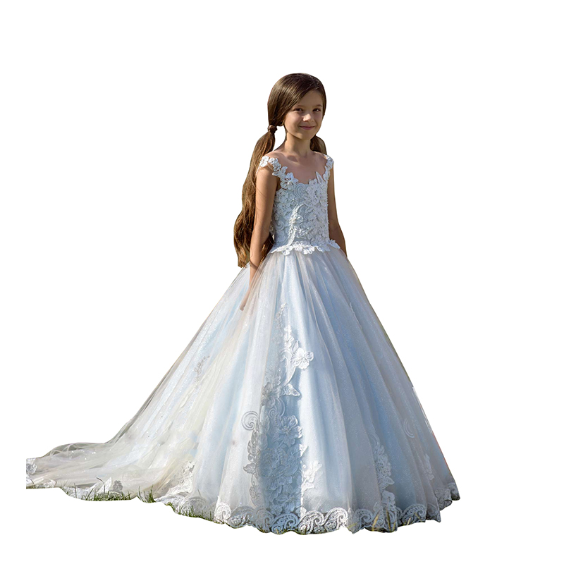 Abaowedding/платье для первого причастия белое кружевное бальное платье принцессы для маленьких девочек; весеннее праздничное платье для свадьб