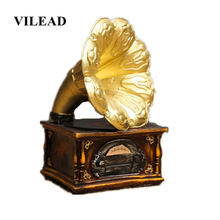 VILEAD 7.1 Resin Phonograph Record Player Figurines European Retro Bar Home Crafts Decoration Coffee Shop Ornament Model Gifts