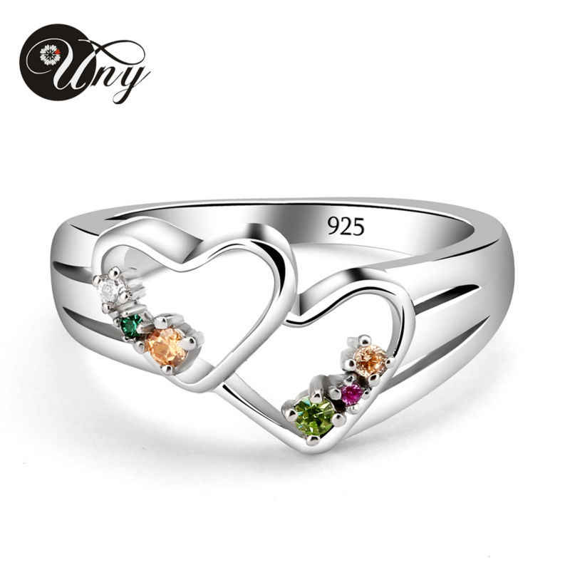 Uny кольцо пользовательские сердце матери Кольца Двойное сердце серебра 925 пробы персонализированные Rock N Rose Семья Фамильные выгравировать Для женщин Любовь кольцо