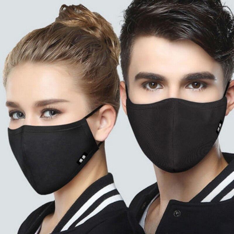 Masken Damen-accessoires Verschmutzung Maske C216 Frauen Schwarz Baumwolle Anti-staub Gesicht Maske Schwarz Radfahren Tuch Mund Masken Atemschutz Mit 8 Filter Pm2.5 Anti