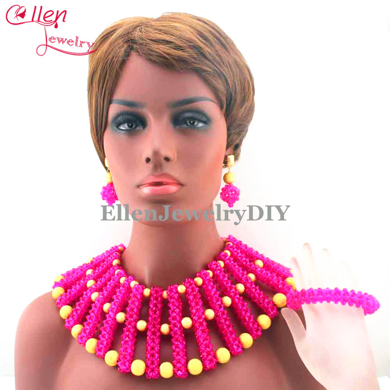 New Chunky Hot Pink African Bride Jewelry Set Nigerian Wedding Party Beads Statement Necklace Set Free Shipping E1095 hot sell free shipping seraph of the end krul tepes pink long clip ponytail cosplay party wig hair