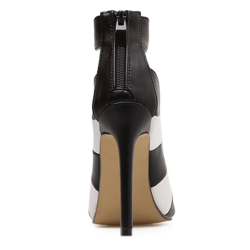 d108f17144a4 MeiLiKeLin Women peeped toed high heels caged shoes women Black+White Mixed  Colors ankle strap spring boots high heeled shoes -in Women s Pumps from  Shoes ...
