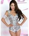 Photo studio DJ cantante de jazz DS traje de la etapa del hombro sexy leotardo de lentejuelas borlas mujer sexy traje de bailarina cantante estrella