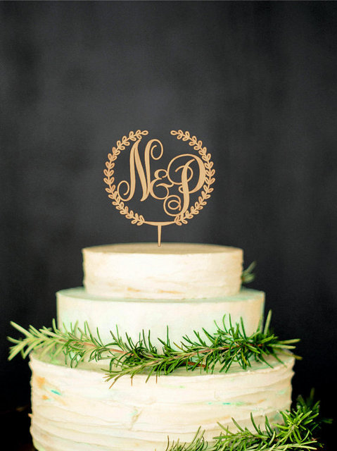 Wooden Monogram Cake Topper Custom Initial Wedding