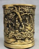 Chinese Bronze Pine Tree Old Man Play Chess Statue Brush Pot Barrel Pencil Vase