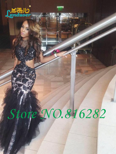 Lace Mermaid Prom Dresses 2016 Nude Waist Special Occasion Party Gowns  Ruffle Formal Evening Dresses See 0875fd71ceca