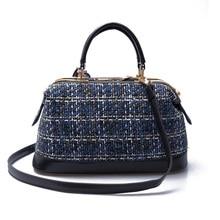 2016 Famous Brand Designer Plaid Woolen Tote Bags Boston Autumn Winter Fashion Big Wool Single Shoulder Bag Women White Handbags