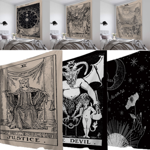 95x73 CM Tarot Card Tapestry Wall Hanging Astrology Divination Bedspread Yoga Beach Mat Vintage Classic Paiting Tapestries