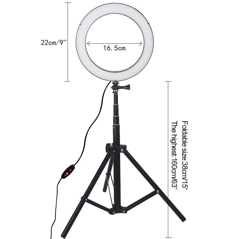 LED Ring Light 8.6 inch Camera Ringlight Tripod Stand Phone Holder For YouTube Tiktok Photography Video Photo Studio Lamp Kit 4