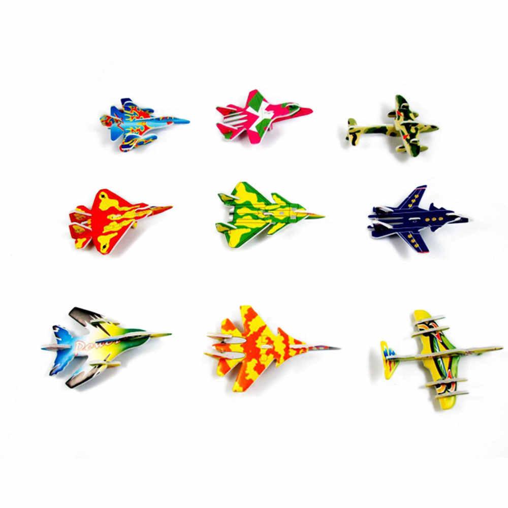 10 sztuk DIY Papercrafts 3D bloki samoloty dzieci karton Model układanki zabawki budowlane dla dzieci śmieszne gry losowy kolor
