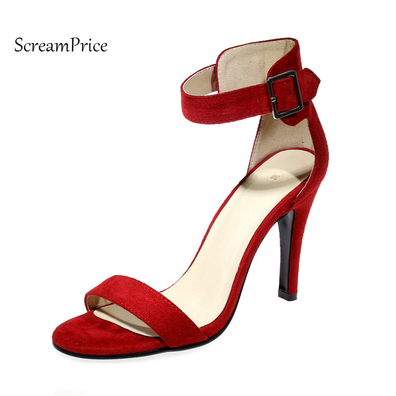 Flock Thin High Heel Woman Sexy Sandal Fashion Cover Heel Party High Heel Shoes Ankle Strap Summer Shoes Black Red Apricot fashion summer apricot sandals charming multi buckles design woman high heels ankle buckles cover heel back zipper free ship
