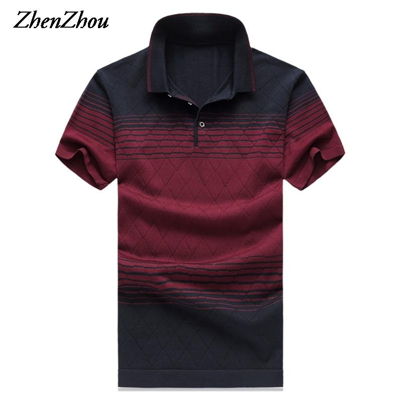 قميص بولو من الحرير الطبيعي للصيف للرجال قميص بولو مقلم للرجال قميص قصير الأكمام للرجال 2018 M-6XL