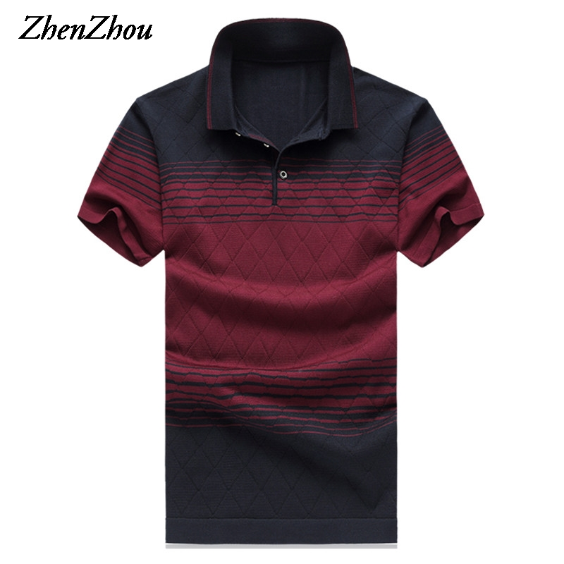 Natural Silk Summer Mens   Polo   Shirts Striped   Polo   Shirt Men Short Sleeve   Polo   Shirt For Men 2019 M-6XL