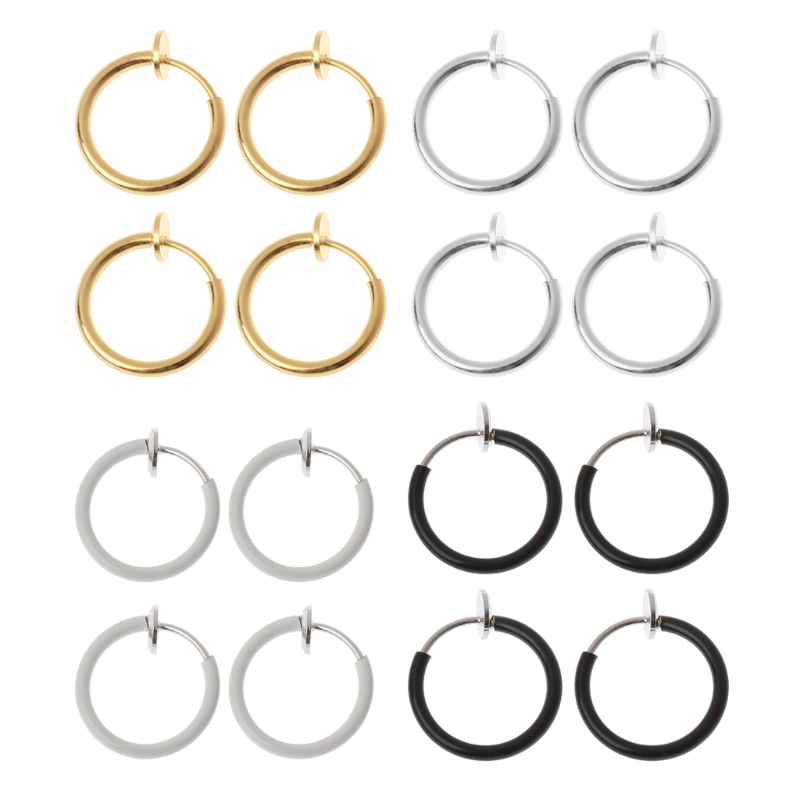 4pcs Clip On Fake Earrings Hoop Non Pierced Nose Rings Lip Ear Body Jewelry