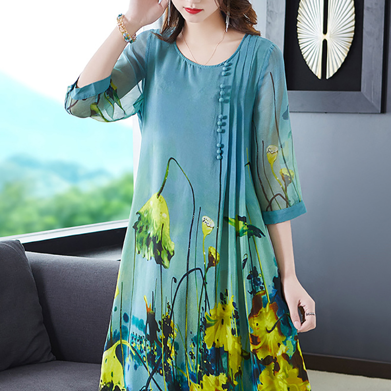 Women's Dress Summer Plus Size Long Dresses Loose Casual Fashion Nature Real silk Print Female holiday beach Vintage dress