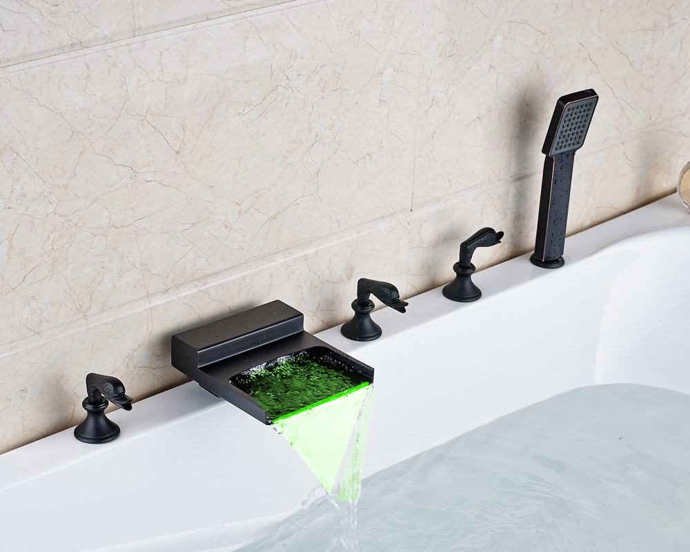 Oil Rubbed Bronze Deck Mounted Bathtub Faucet Waterfall LED Spout With Hand Shower