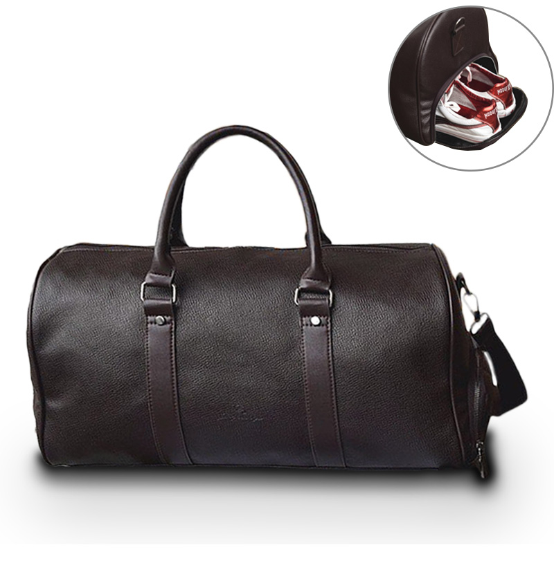 Leather Travel Weekender Overnight Duffel Bag Gym Sports Luggage Bags For Men Medium Black