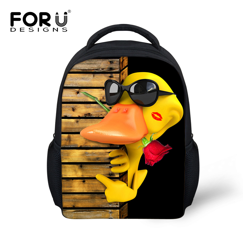 New Arrival Funny Small Yellow Duck Style backpacks kindergarten baby school back pack bag cool frog print mochila feminina bags
