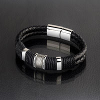 New Fashion 20 5cm PU Braided Leather Bracelets For Men With 316L Stainless Steel Charm And