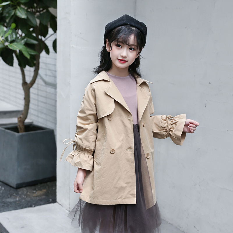 Fashion Jackets For Girls 2018 Autumn Teens Windbreaker Children Clothes Girls Cotton Trench 6 8 10 12 14 Years Kids Outwears