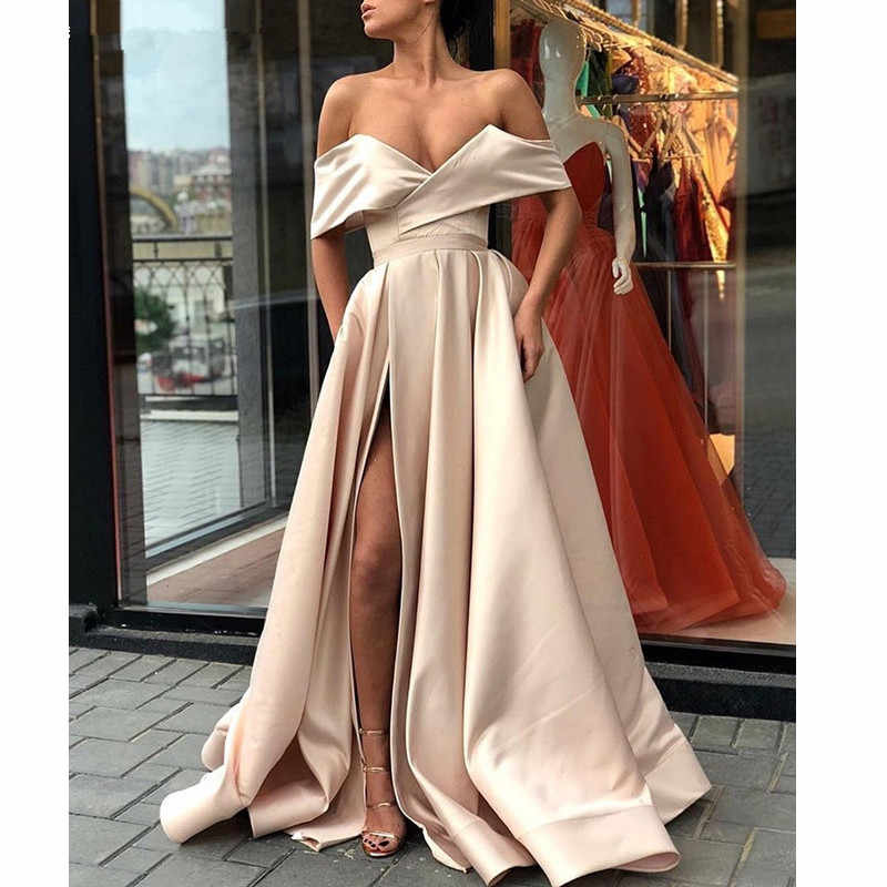 Торжественное платье женское элегантное вечернее платье 2019 сатин с открытыми плечами длинное выпускное вечерние с боковыми разрезами Abiye Gece Elbisesi