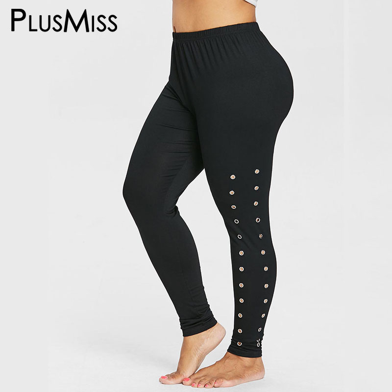 PlusMiss Plus Size High Waist Sexy Fitness Leggings Women Big Size Hollow out Black Jeggings Ladies Skinny Leggins Legins Female