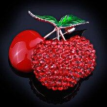 FARLENA Ювелирные Изделия Симпатичные red cherry полный стразами броши для женщин девушки платье pins