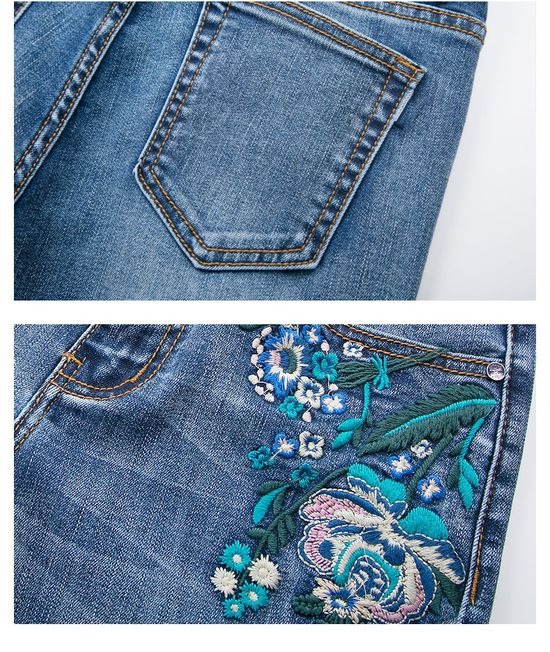 FERZIGE 2019 Women Jeans Fashion Flares Denim Pants Embroidery Floral Light Blue High Waist Stretch