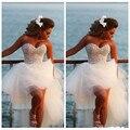 Kp38 Vestidos de Baile 2017 Dijo Mhamad Playa Novia de la boda de La Perla Con Cuentas Volver Corto Y Largo Delantero Volver Alto Bajo Árabe