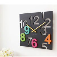 2013 Fashion Christmas Gift Modern Novelty Silent Hanging Wall Clock 3d Wall Digital Table Clock Square