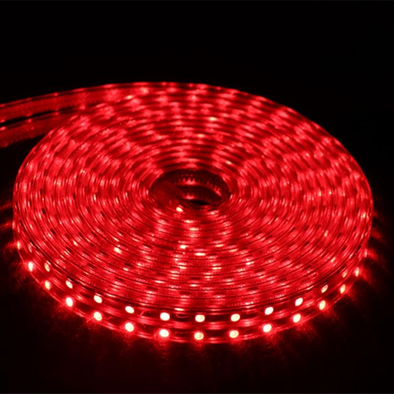 SMD 5050 AC 220 В Светодиодная лента для улицы Водонепроницаемая 220 В 5050 в 220 В Светодиодная лента 220 В SMD 5050 Светодиодная лента 1 м 2 м 5 м 10 м 20 м 25 м 220 В - Испускаемый цвет: Red