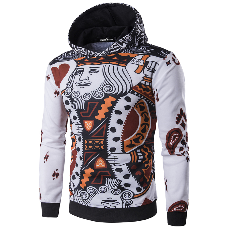 ②New Arrival Men Hoodies With Hood Fashion Printing poker Pullovers ...