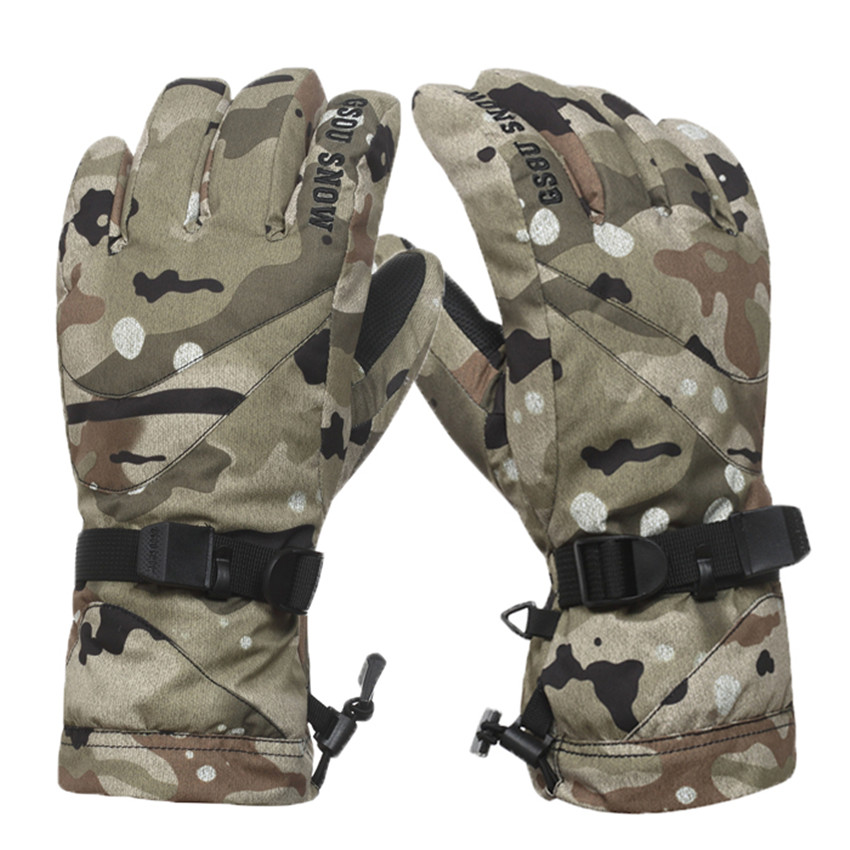 ФОТО 2017 Men Camouflage Pattern Skiing Gloves Thermal Cotton Gloves Winter Sports Waterproof Windproof