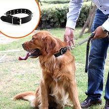 DannyKarl 2019 Medium And Large Pet Collar Dog Supplies Leather Dog Golden Hair Large Portable Pet Dog Anti-Bite Nail Collar adjustable anti bite nylon pet collar for mid large sized dog black