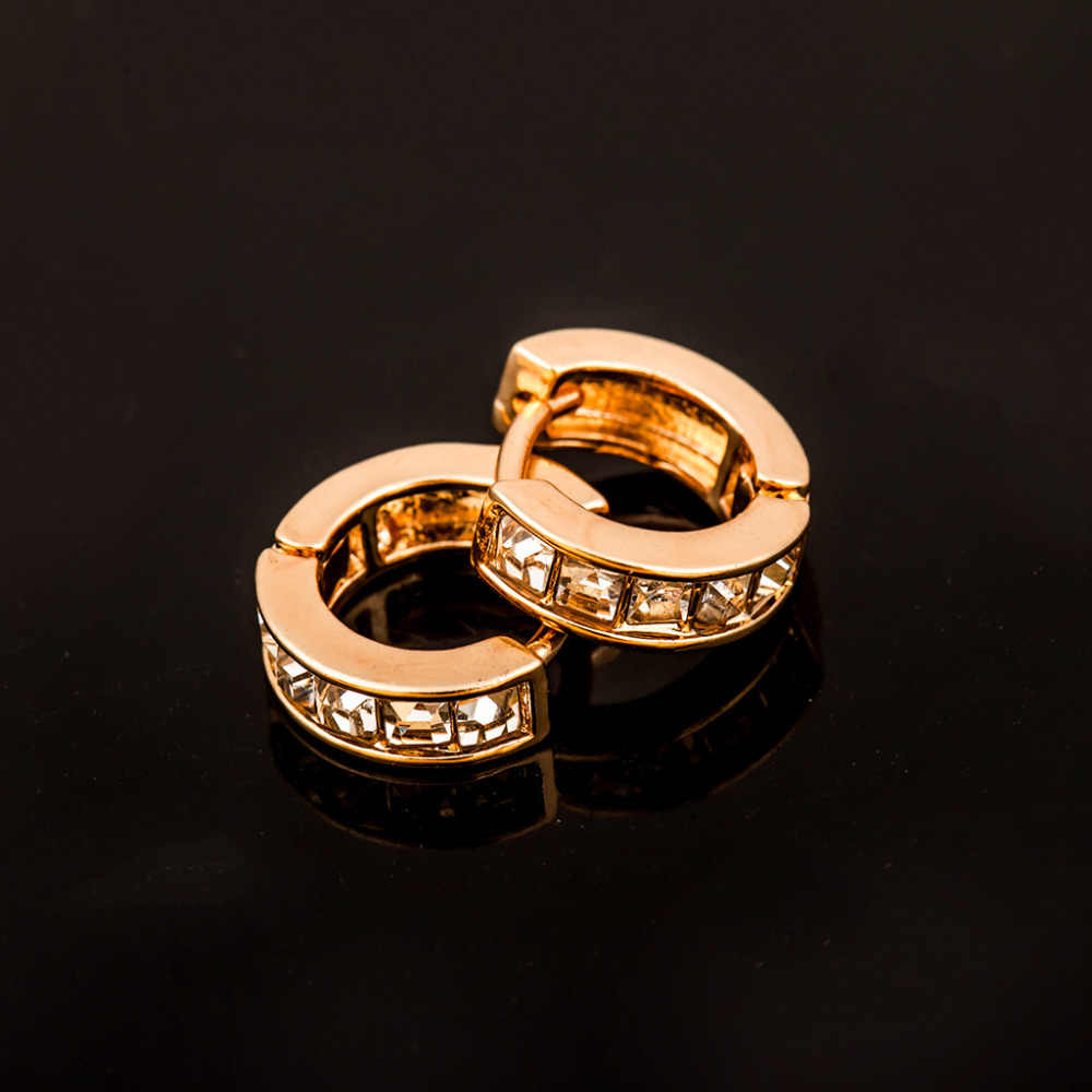 Emas Perak Berlian Imitasi Hoop Earring Lingkaran Anting Kristal Zirkon Putaran Lingkaran Huggie Kecil Telinga Perhiasan Wanita Aksesoris Pernikahan